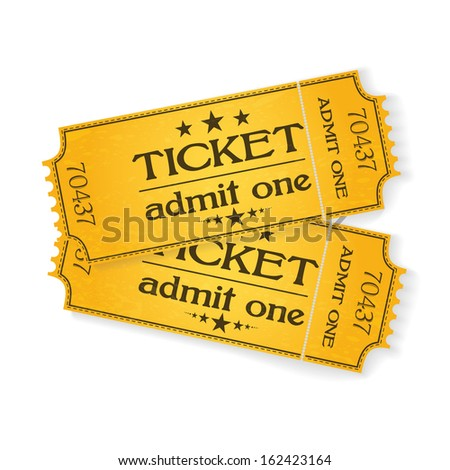 pair of vintage yellow cinema tickets on white  - stock vector