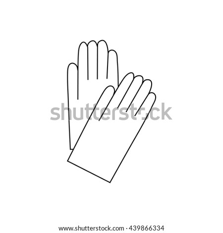 Pair of white cotton gloves icon, outline style - stock vector