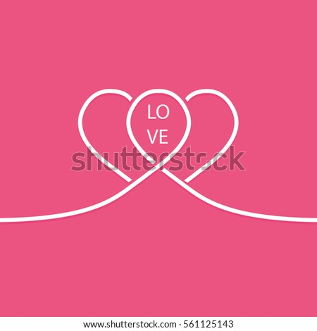 Pair of white line hearts. Valentines Day card.