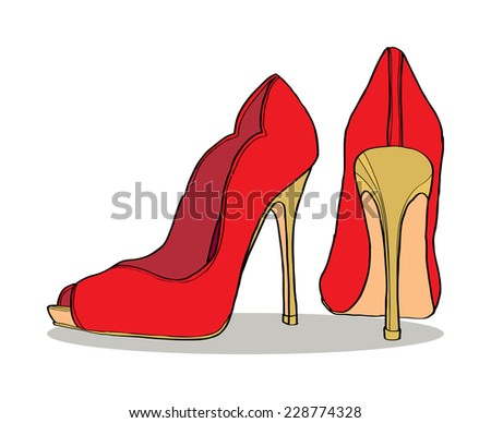 pair of women's shoes - stock vector