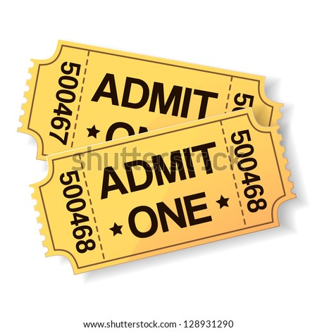 pair of yellow cinema tickets on white - stock vector