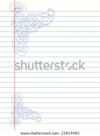 Paisley Doodles on notebook paper - stock vector