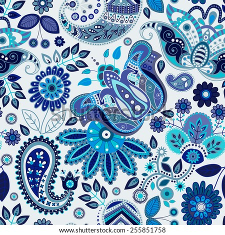 Paisley floral seamless pattern - stock vector