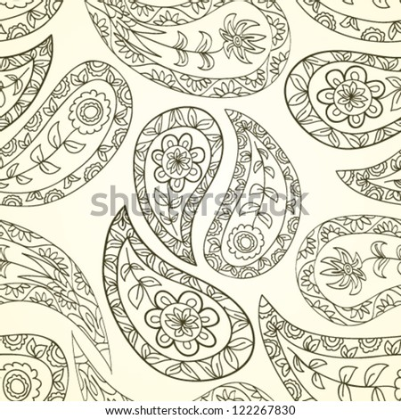 Paisley floral textile pattern. Seamless pattern can be used for wallpaper, fabrics, paper craft projects, web page background,surface textures. Abstract textile floral background