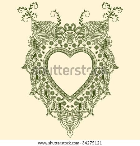 Paisley Heart Design - stock vector
