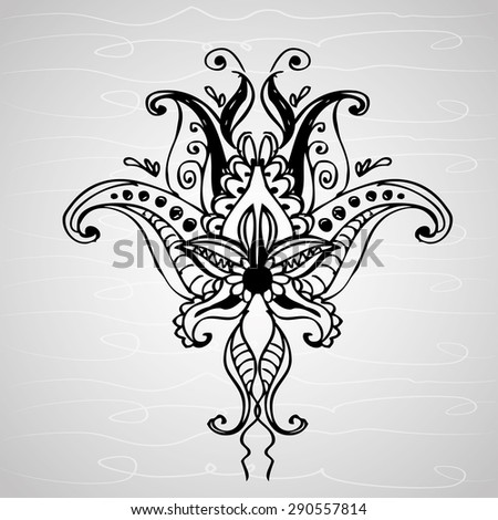 paisley ornament, hand drawing , vector illustration - stock vector