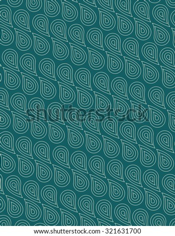 Paisley pattern over green color background - stock vector
