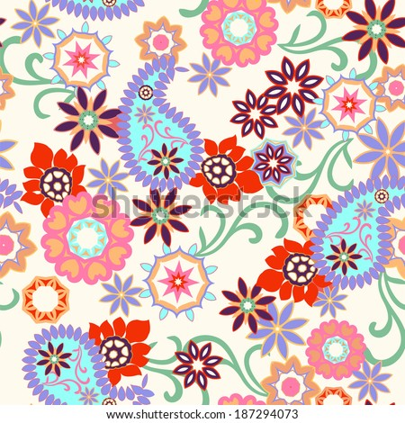 paisley seamless background Floral pattern seamless