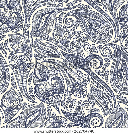 Paisley seamless fabric background pattern. Decorative vector illustration. - stock vector