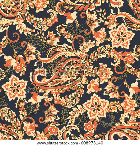 paisley seamless floral pattern vector vintage background