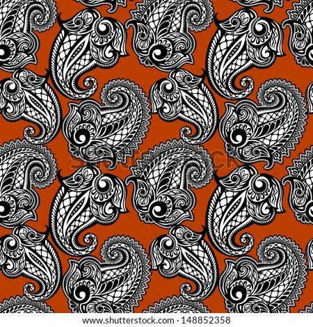 Paisley seamless lace pattern--model for design of gift packs, patterns fabric, wallpaper, web sites, etc. - stock vector