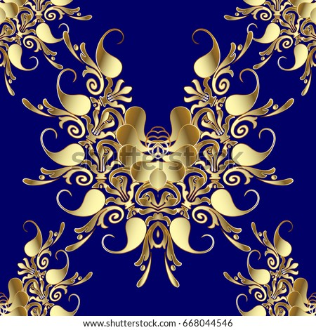 paisley seamless pattern blue floral vector stock vector 668044546 shutterstock. Black Bedroom Furniture Sets. Home Design Ideas