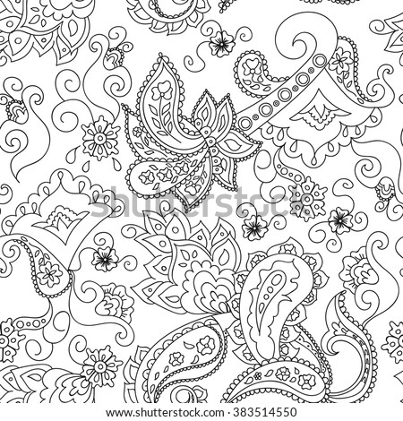 Paisley Seamless Pattern Doodle Hand Drawn Background Indian Motif Ornament Vector Black