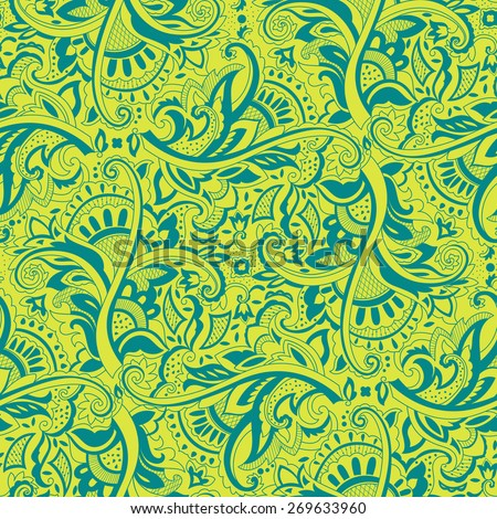 Paisley seamless pattern for design of packaging, paper and textiles. Vector illustration