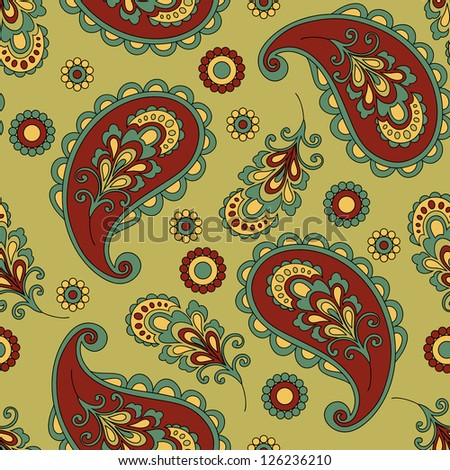 Paisley seamless pattern in vector.