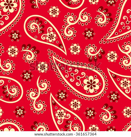 Paisley seamless pattern. Indian cucumber. Oriental decorative ornament