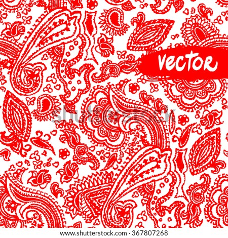 Paisley tradition ornament red color. Vector primitive paisley patterns seamless. Hand drawn illustration. - stock vector