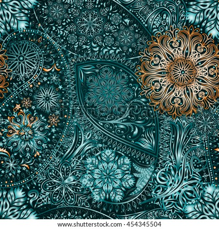 Paisley vintage floral motif ethnic seamless background. Abstract lace pattern. Ability to edit the colors, without losing seamlessly. Hand drawing colorful wallpaper. EPS8 vector texture. - stock vector