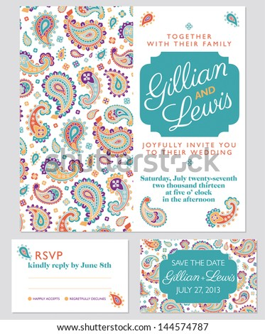 Paisley wedding invitation set, in summer colors