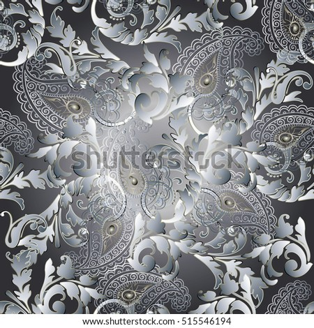Paisleys seamless pattern wallpaper illustration with vintage decorative white 3d paisley flowers leaves and ornaments. Tender elegant endless texture. Floral vector paisley background.