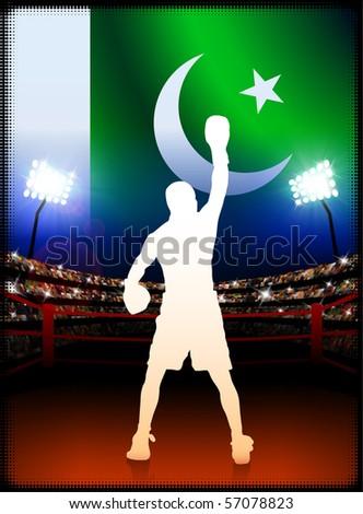 Pakistan Flag with Boxer on Stadium Background Original Illustration - stock vector