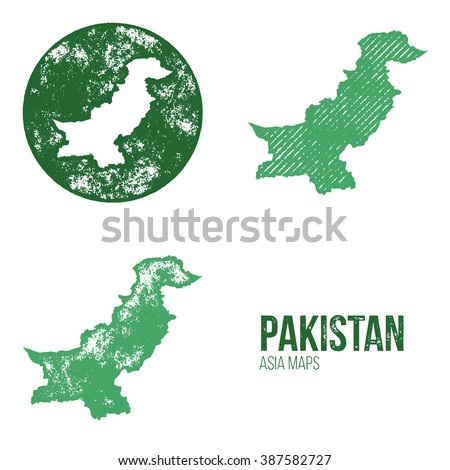 Pakistan Grunge Retro Maps - Asia - Three silhouettes Pakistan maps with different unique letterpress vector textures - Infographic and geography resource