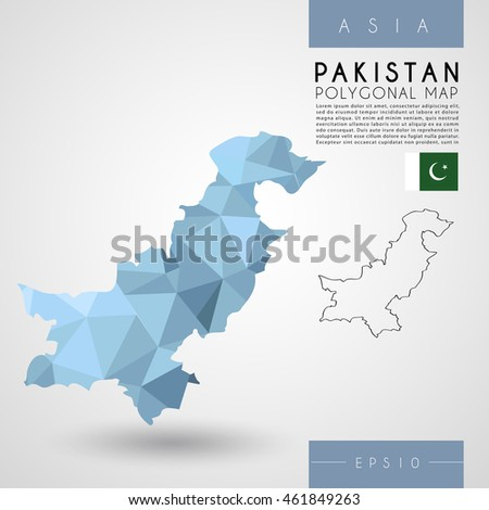 Pakistan : Low Poly Map : Vector Illustration