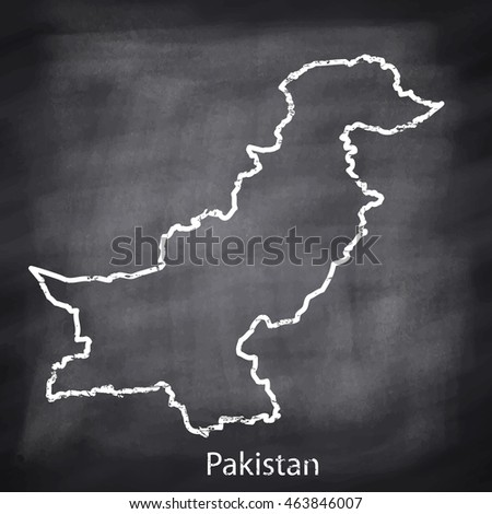 Pakistan map drawn with chalk on blackboard background