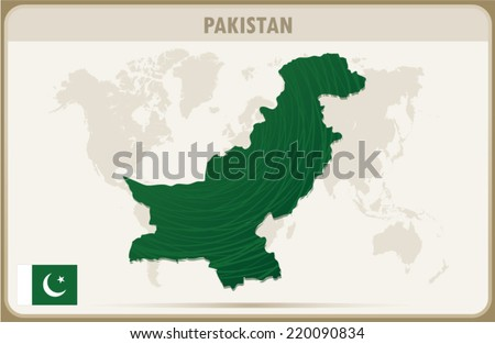 Pakistan map graphic, Vector.