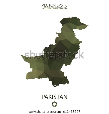 Pakistan map in geometric polygonal military style.Abstract tessellation,modern design background. Vector illustration eps 10.