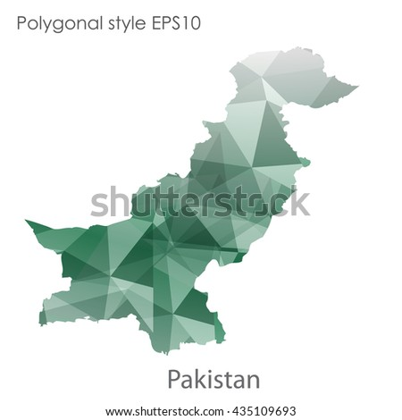 Pakistan map in geometric polygonal style.Abstract gems triangle,modern design background.Vector illustration EPS10