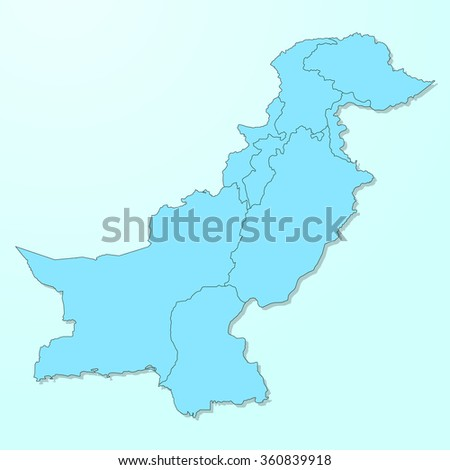Pakistan map on blue degraded background vector - stock vector
