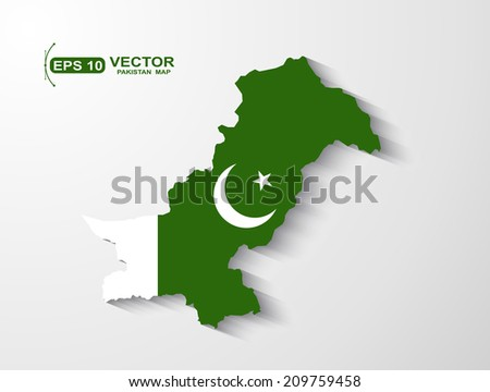 Pakistan map with shadow effect - stock vector