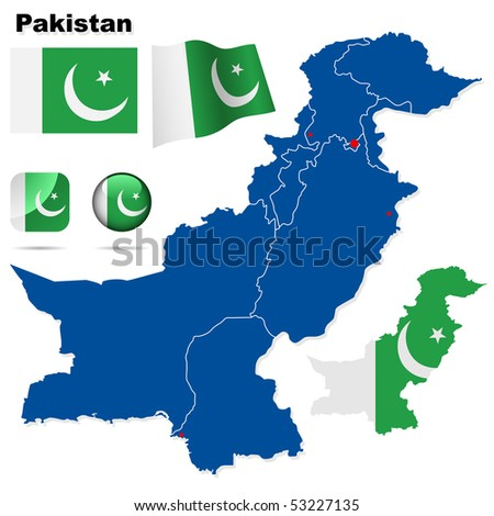 Pakistan vector set. Detailed country shape with region borders, flags and icons isolated on white background. - stock vector