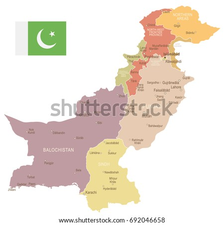 Pakistan vintage map and flag - vector illustration