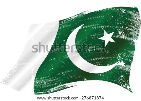 Pakistani grunge flag. Flag of Pakistan in the wind with a texture - stock vector