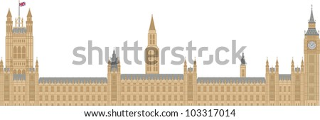 Palace of Westminster Houses of Parliament with Big Ben Clock Tower in London Illustration - stock vector