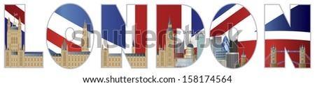 Palace of Westminster Houses of Parliament with Big Ben Clock Tower London Skyline in London Text Outline Vector Illustration - stock vector