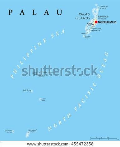Palau political map with capital Ngerulmud. Republic and island country in North Pacific Ocean forming the western chain of Caroline Islands in Micronesia. English labeling. Illustration. - stock vector