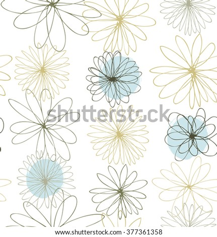 Pale colored decorative ornate background with round fantasy flowers - stock vector