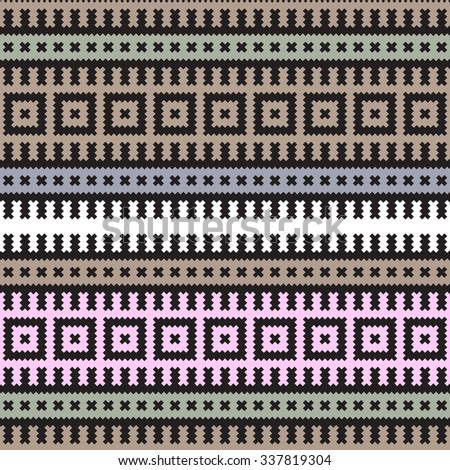 Pale colored horizontal square geometric ethnic seamless pattern