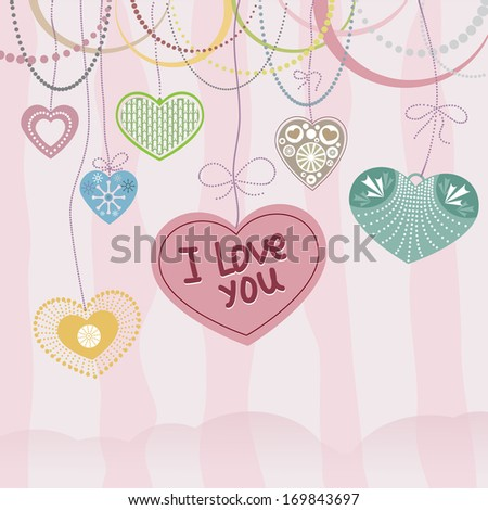 pale pink Valentines Day Card With Hearts. Vector