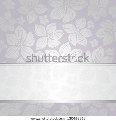 pale silver and violet invitation background - stock vector