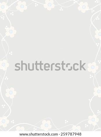 Pale yellow flower pattern over gray color background - stock vector