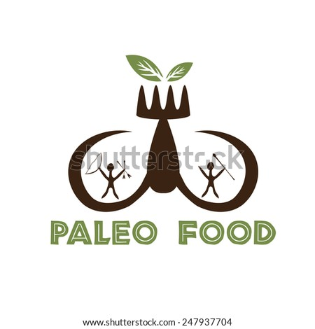 paleo food illustration with mammoth tusks and cavemans - stock vector