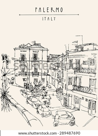 Palermo, Italy, Europe. Vector illustration. Travel sketch drawing. Monochrome poster, postcard template with copy space, hand lettering. Nice historical buildings, town square, car park, palm trees