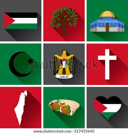 Palestine Flat Icon Set. Vector graphic flat icon images representing symbols and landmarks of Palestine. - stock vector