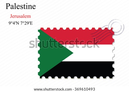 palestine stamp design over stripy background, abstract vector art illustration, image contains transparency