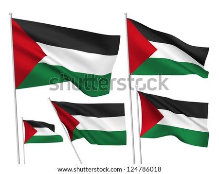 Palestine vector flags. A set of 5 wavy 3D flags created using gradient meshes. - stock vector