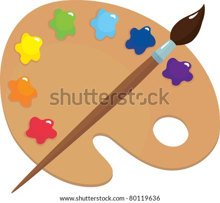 Palette and brush - stock vector